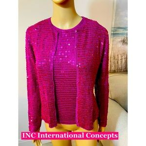 INC pink Sequined Top & Tee Size Sm